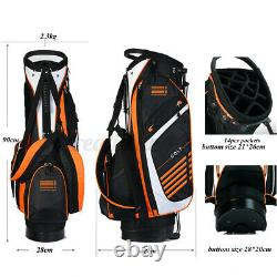 14 way-Full Length Divider 6 Pocket Golf Club Stand Bags Cart Bag withStrap Gift