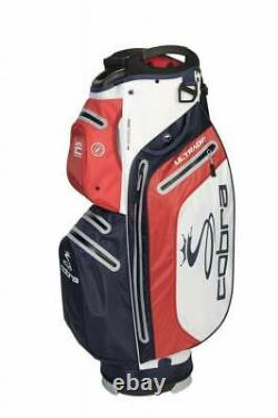 Brand new Cobra Ultradry waterproof cart bag Navy red white 15 way dividers