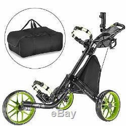 CaddyTek EZ-Fold 3 Wheel Golf Push Cart Golf Trolley with BAG - Lime NEW