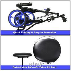 Foldable 3 Wheel Push Pull Golf Club Cart Trolley withSeat Scoreboard Bag Blue