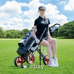 Foldable 3 Wheel Push Pull Golf Club Cart Trolley withSeat Scoreboard Bag Red