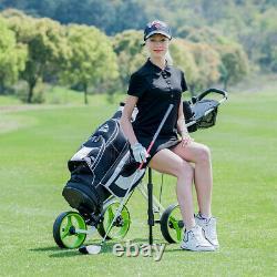 Foldable 3 Wheel Push Pull Golf Club Cart Trolley withSeat Scoreboard Bag Swivel