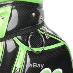 GUIOTE GOLF PREMIUM CADDIE STAFF CART BAG BLACK LUCKY CLOVER 10 TOP withRAINHOOD