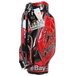 GUIOTE GOLF PREMIUM CADDIE STAFF CART BAG RED SPIDER 10 TOP withRAINHOOD