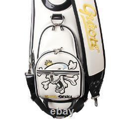 GUIOTE GOLF PREMIUM CADDIE STAFF CART BAG WHITE KING SKULL 10 TOP withRAINHOOD