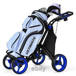 Goplus Folding 4 Wheels Golf Push Cart WithBag Scoreboard Adjustable Handle Blue
