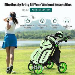 Goplus Folding 4 Wheels Golf Push Cart WithBag Scoreboard Adjustable Handle Green