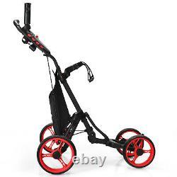 Goplus Folding 4 Wheels Golf Push Cart WithBag Scoreboard Adjustable Handle Red