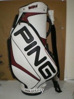 HARDLY USED Ping Big Logo Tour Staff Cart Bag 6 Way Divider White Rain Hood