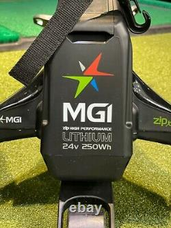 LIGHTLY USED MGI ZIP X5 Electric Golf Caddy Push and Pull Cart Lime/Gray/Black