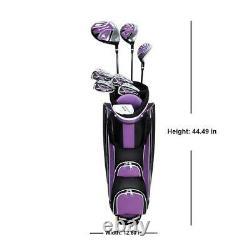 Ladies 13 Piece Golf Club Set Purple Iron Lightweight Cart Bag Flex Complete