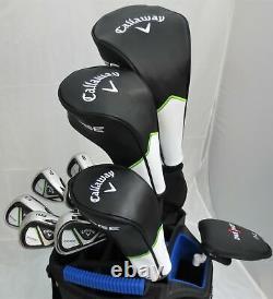 Mens Callaway Golf Set Driver, Wood, Hybrid Irons Putter Cart Bag RH Stiff Flex