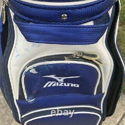 Mizuno Pro Staff Golf Bag With Rain Cover Blue White Cart Bag Professional Tour