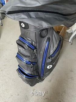 Motocaddy Dry Series Cart Bag 14 way Divider Charcoal/Blue Waterproof v/good