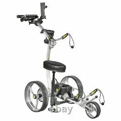 NEW Bat Caddy X8 Pro Manual Electric Golf Bag Cart Silver with 12V 35Ah Battery