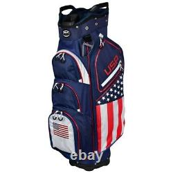 NEW Hot-Z Golf Flag Cart Bag 14-way Top United States of America USA