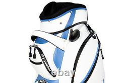 NEW Motor Power and Caddy 14 Way Divider Cart / Trolley Golf Bag White/Blue