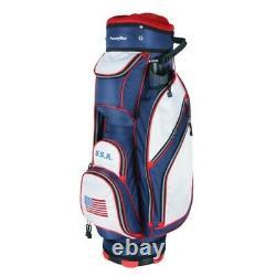 NEW PowerBilt Golf USA Flag 5400 Cart Bag 14-way Top Red / White / Blue