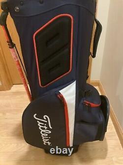 NEW TITLEIST 2021 HYBRID14 STAND/CART GOLF BAG(NAVY/WHITE/RED)+NEW PRO V1x BALLS