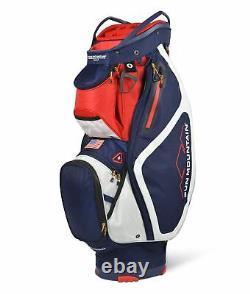 New Sun Mountain Golf- Maverick Cart Bag Navy/White/Red