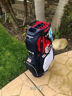 New Sun Mountain Sync 14 Way Top Cart Bag USA NAVY-WHITE-RED
