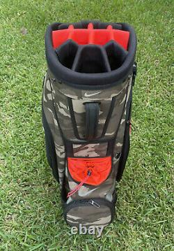 Nike Golf Sport Cart IV Bag Green Camo/Orange 14 Way Divider BG0398-209