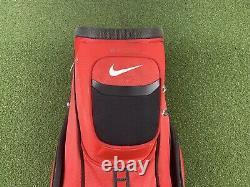 Nike Performance Golf Cart Bag 14-Way Divide Top Red Black 9 Zippers