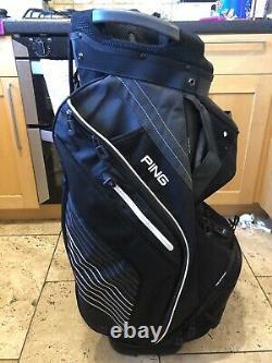 PING Pioneer Golf Cart Bag, Black, 15-Way, Rainhood & Strap, Very Good
