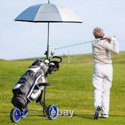Portable 3 Wheel Push Pull Golf Club Cart Trolley withSeat Scoreboard Bag Blue