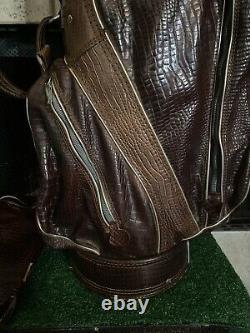 Ram Golf Genuine Kangaroo Leather Vintage Cart 9 Top Golf Bag & Matching Cover