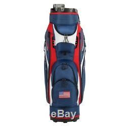 Ram Golf Premium Cart Bag with 14 Way Molded Organizer Divider Top USA Flag