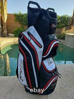 TITLEIST Cart 14 Golf Bag Red Black White 12 Pocket Carry Ride Club Logo