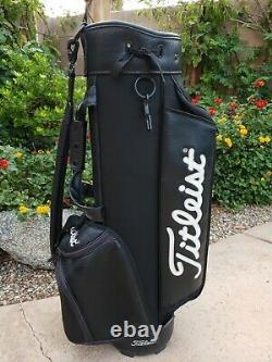 TITLEIST Classic Cart Golf Bag Black With White Logo rear 6-Way Top Small Staff