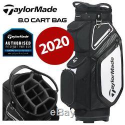 TaylorMade 8.0 14-WAY Divider Golf Cart Bag Black/White/Charcoal NEW! 2020
