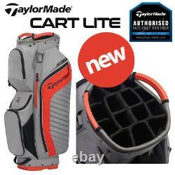 TaylorMade Cart Lite Golf Trolley/Cart Bag Grey/Blood Orange NEW! 2020