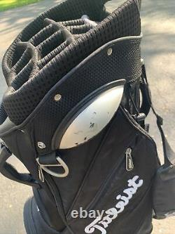 Titleist 14 Way Golf Cart in Bag Black White W Rain Cover. Great Condition