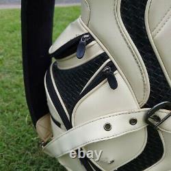 Titleist Black White Leather Golf Cart Bag Padded Strap & Rain Cover