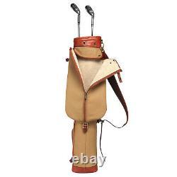 Tourbon Golf Clubs Bag Cart Sunday Travel Vintage Pencil Carrying Canvas Leather