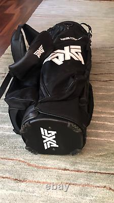 Used PXG Leather black 6-way cart bag with rain cover $30 SHIPPING