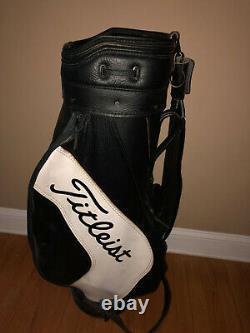 Vintage Black & White Leather Titleist Staff or Cart Bag / Strap