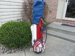 Vintage PEPSI COLA BELDING PRO MODEL Golf Cart Staff Bag Original Rain Hood