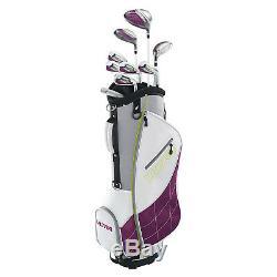 Wilson Ultra Womens Right Handed Super Long Golf Club Set with Cart Bag, Plum